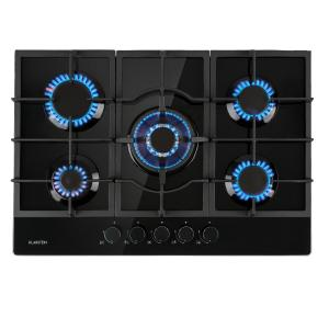 Ignito 5 Zone Gas Hob 5-Burner Sabaf Burner Glass Ceramic Black 5 burners