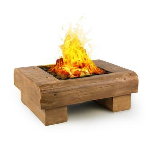 Lombardia Fire Bowl 40x40 cm BBQ-Pit Spark Protection MagicMag Wood Look