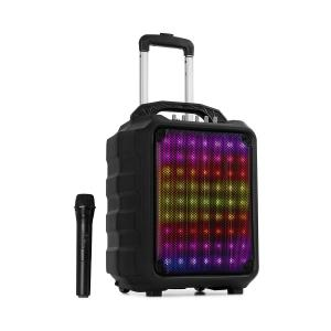 """Moving 80.1 LED PA-Anlage 8"""" Woofer 100 W max UHF-Mikro USB SD BT AUX mobil"""