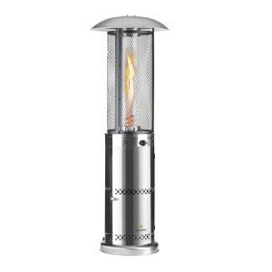 Goldflame Deluxe Terrassenheizstrahler 36.000BTU/11kW Temperglas mobil Edelstahl Silber Silber