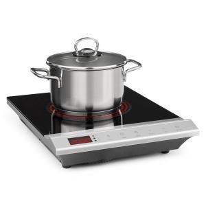 MisterCook Placa de cocina Infrarrojos 2000W 90-650 °C Temporizador de apagado Plateada