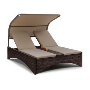 Eremitage Double Lounger Chaise longue pour 2 aluminium & rotin - gris Gris