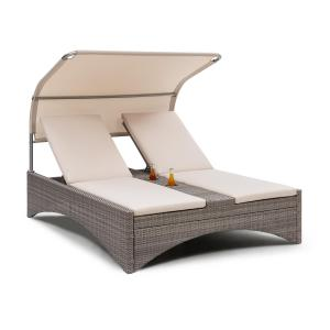 Blumfeldt Eremitage Double Lounger Sun Lounger 2 Pers. Aluminium/Rattan Taupe Taupe