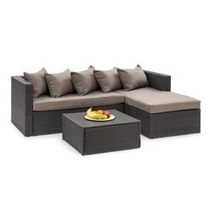 Theia Lounge Salon de jardin canapé d'angle pouf 5 coussins noir Noir