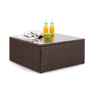 Theia Table Loungetisch Polyrattan Glasplatte braun Braun