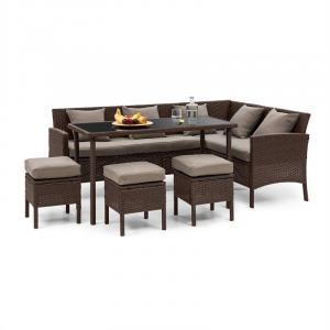Titania Dining Lounge Set mobili da giardino angolo pranzo tavolo sgabello marrone marrone