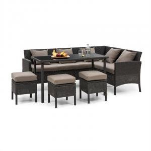 Titania Dining Lounge Set mobili da giardino angolo pranzo tavolo sgabello nero nero