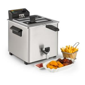 Family Fry Deep Fryer 3000W Oil Drain Technology Stainless Steel Silver