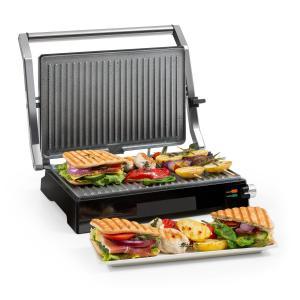 Buffalo Grill de contacto Parrilla de panini 2000W Acero inoxidable Plateado/Negro Non_stick_coating_metallic