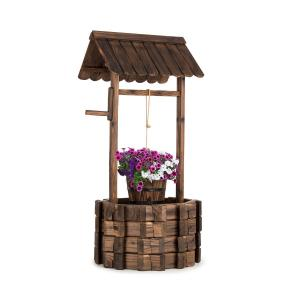 Andernach Decorative Fountain Fir Wood with Bucket Swivel Crank Brown