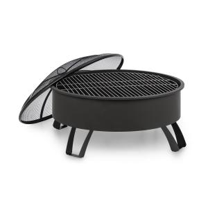 Oreos 2-in-1 Fire Bowl Ø75cm Spark Protection Ø68cm Grill Steel Black