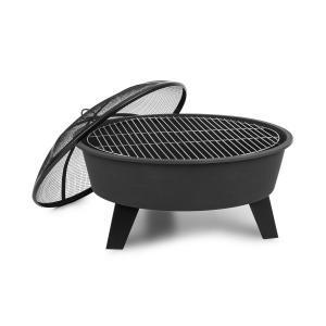 Nolana 2-i-1-eldskål Ø73cm gnistskydd Ø64cm grill stål svart