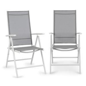 Almeria Klappstuhl 2er-Set 59,5x107x68 cm ComfortMesh Aluminium weiß/grau Weiß