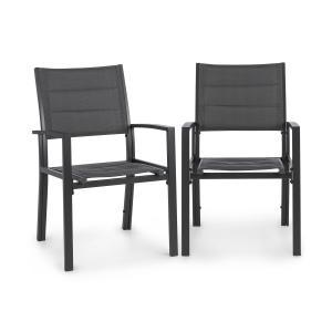 Torremolinos Fotele ogrodowe 2 sztuki aluminium siateczka ComfortMesh ciemnoszary