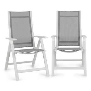 Cádiz Conjunto de 2 cadeiras dobráveis de 59,5x107x68 cm ComfortMesh alumínio branco Branco