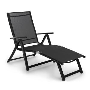 Pomporto Lounge Deck Chair PVC PE Aluminium 7-Step Anthracite Anthracite