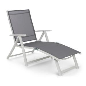 Pomporto Lounge Deck Chair PVC PE Aluminium 7-Step White / Light Grey White light grey