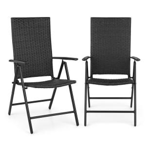 Estoril Garden Chair Poly Rattan Aluminium 7 Steps Hinged Black Black