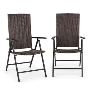 Estoril Garden Chair Poly Rattan Aluminium 7 Steps Hinged Brown Brown