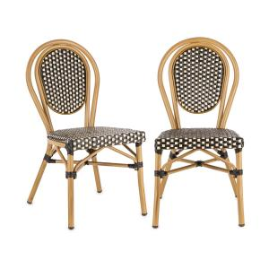 Montpellier BL stoel stapelbaar aluminium frame polyrotan zwart-crème Zwarte crème
