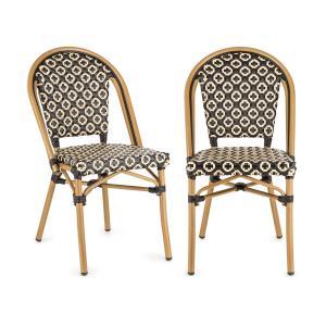 Montbazin BL Krzesło możliwość ułożenia jedno na drugim rama aluminiowa polirattan czarno-kremowy Czarny krem