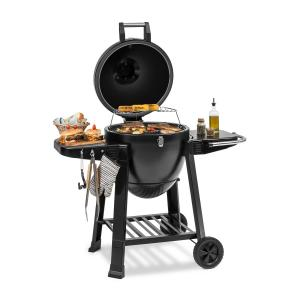 Duomo Kamado Grill with Thermometer Side Panels Wheels