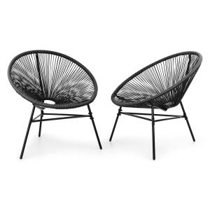 Las Brisas Chairs Set of 2 Retro Design 4mm Mesh Black Black