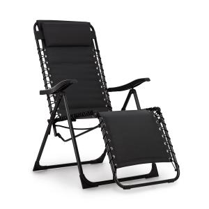 California Dreaming Sun Lounger, Upholstery, Steel Frame, Black Black