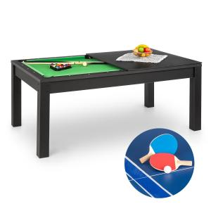 Liverpool 3-in-1 Game Table 7' Billiard Table Tennis Dining Table Black Black