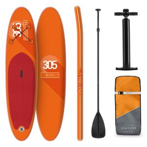Spreestar Planche de paddle gonflable Set SUP-Board 305x10x77 cm - orang Orange
