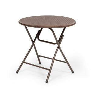 Burgos Round Table de jardin pliante  Ø 80cm polyrotin marron 80 x 76 cm (ØxH)