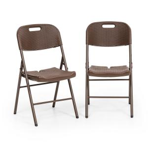 Burgos Seat Folding Chair Set of 2 HDPE Steel Rattan Look Brown