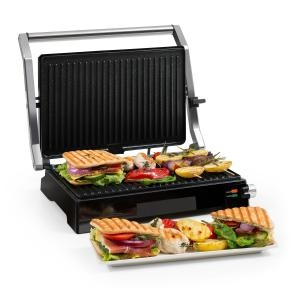 Buffalo Grill de contacto Parrilla de panini 2000W Acero inoxidable Plateado/Negro Non_stick_coating_marbled