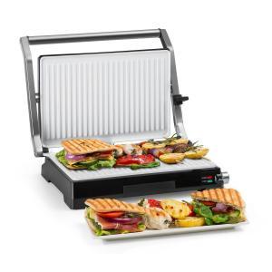 Buffalo Grill de contacto Parrilla de panini 2000W Acero inoxidable Plateado/Negro Non_stick_coating_white