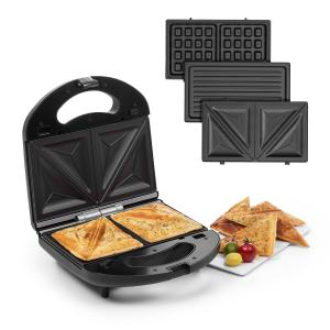 Trilit 3-in-1 Sandwich Maker 750W 3 Griddle LED Anti-Stick Black Black