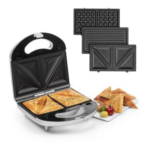 Trilit 3-in-1 Sandwich Maker 750W 3 bakplaten LED anti-aanbaklaag zilver Zilver
