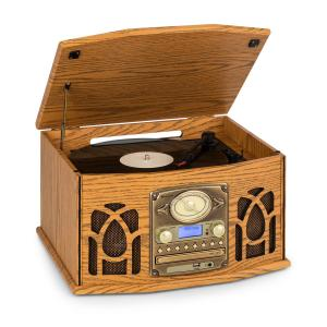 NR-620 DAB Stereo Wooden Turntable DAB + CD Player Brown Brown