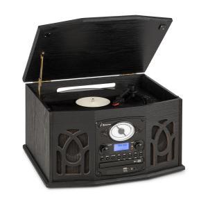 NR-620 DAB, wieża stereo, gramofon, DAB+, odtwarzacz CD, drewno, kolor czarny Czarny