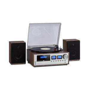 Oxford Retro-Stereoanlage DAB+/FM BT-Funktion Vinyl CD AUX-In Dunkelgrau Dunkelgrau