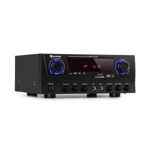 Amp-2 BT Hifi-förstärkare 2x50 W RMS BT USB SD 2 x mikrofon FM-radiotuner svart Svart