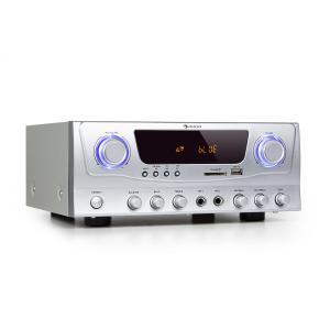 Amp-2 BT Hifi-förstärkare 2x50 W RMS BT USB SD 2 x mikrofon FM-radiotuner Silver