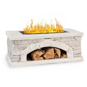 Matera Fire Bowl 50.5x26.5cm Artificial Stone Steel Black / Stone Look