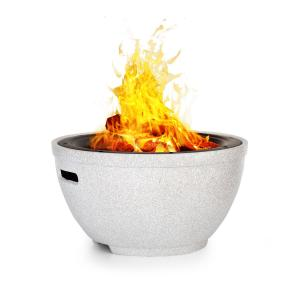 Syrakus Fire Bowl Ø37cm Artificial Stone Steel Black / Stone Look