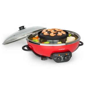Tafelrunde hot pot en grillplaat 5L vol. 1350W 600W rood