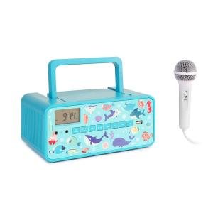 Kidsbox Underwater CD Boombox CD player BT FM USB LED Display turquoise Underwater_design
