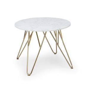Round Pearl, stolik kawowy, 55 x 45 cm (Ø x wys), imitacja marmuru, złoty/biały