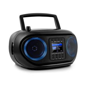 Roadie Smart Boombox Rádio Internet DAB/DAB+ UKW Leitor CD LED Wi-Fi Bluetooth Preto