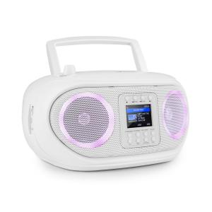 Roadie Smart Boombox Rádio Internet DAB/DAB+ UKW Leitor CD LED Wi-Fi Bluetooth Branco