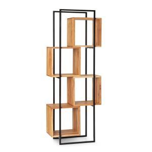 Rotterdam stelling acaciahout ijzeren frame 4 schappen 70x180x33,5cm hout