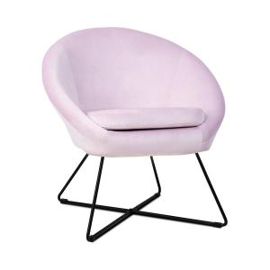 Emily, fotel tapicerowany, tapicerka piankowa, obicie poliestrowe, aksamit, stal, kolor różowy Różowy